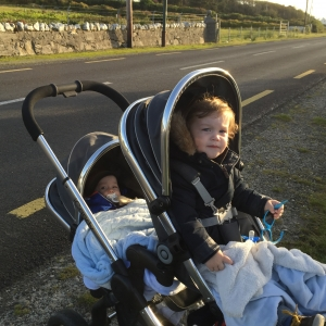 Safest place when out and about is their pushchair!